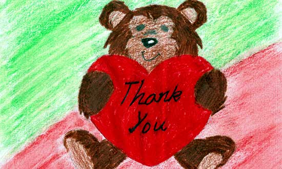 Thank You Bear, by Amir - a young refugee who received support from SSI, is a coloured drawing of a bear holding a love heart.