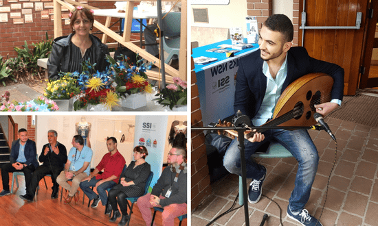 A collage of images from the Iraqi Cultural Festival, featuring a musician, artist and panel.