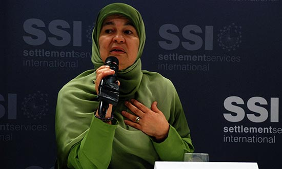 Maha Abdo of the Muslim Women's Association at an SSI Speakers' Series.