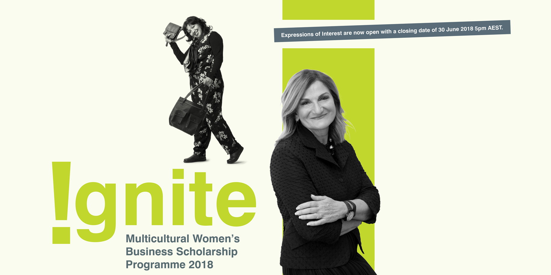Ignite Multicultural Womens Business Scholarship Programme 2018 collage image of CEO Violet Roumeliotis and a successful female entrepeneur