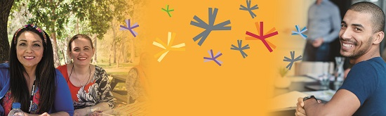 SSI Careers LiveHire Banner image of SSI employees from multicultural backgrounds and yellow design with stars
