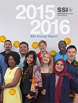 2015 - 2016 SSI Annual Report Cover showing group of people smiling at the camera