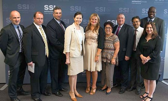 Senator Concetta Fierravanti-Wells with SSI CEO Violet Roumeliotis, Chair Kamalle Dabboussy and representatives from migrant resource centres and Legal Aid NSW.