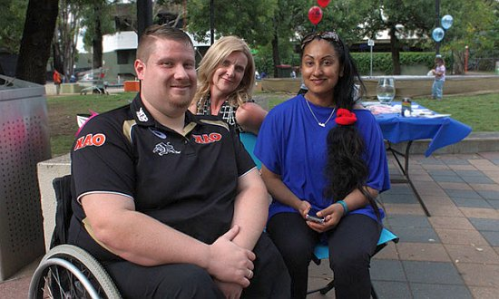 ADHC Living Life My Way Champion Tish Peiris, SSI Linker Marjorie Letts and Panthers wheelchair rugby league captain Nathan Pentacost at the launch.