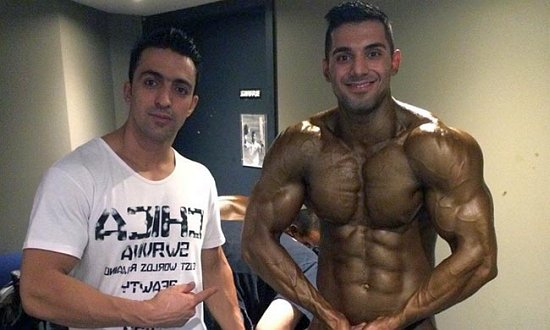 Behnan, right, credits bodybuilding with helping him stay focused while seeking asylum.