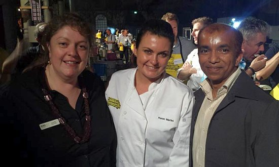 SSI's Lynette Racheti with chef Karen Martini and SSI case manager Balarama Bal.