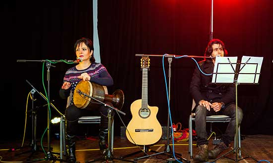Mersedeh and Babak on stage at the New Beginnings festival in June.