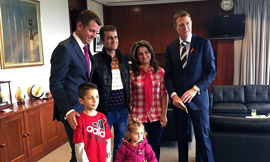 NSW Premier and Minister Porter with Kaky family