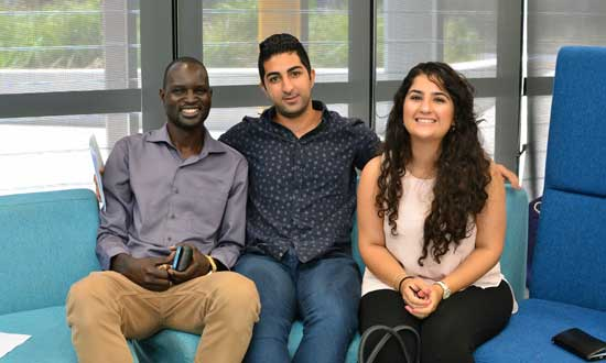 SSI Youth Projects Coordinator Dor Achiek, pictured with Arash Bordbar and Sarah Yahya.