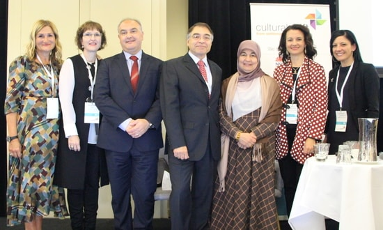 (L–R) SSI CEO Violet Roumeliotis, SSI Chair Elisabeth Shaw, Multicultural NSW CEO Hakan Harman, STARTTS CEO Jorge Aroche, Muslim Women Association CEO Maha Krayem Abdo, Access Community Services Executive Manager Mary Asic-Kobe, and Dr Rebecca Jenkinson, Research Fellow, Australian Institute of Family Studies.