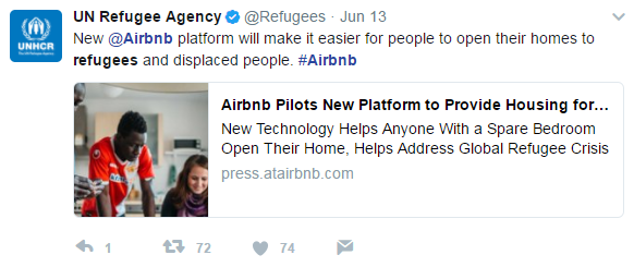 "Screenshot of a Tweet from the UN Refugee Agency. The Tweet says: ""A new Airbnb platform will make it easier for people to open their homes to refugees and displaced people""."