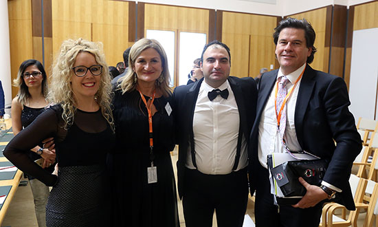 Mr Ariento's assistant, SSI CEO Violet Roumeliotis, Ariento the Magician, and Innes Willox, CEO of the Australian Industry Group.