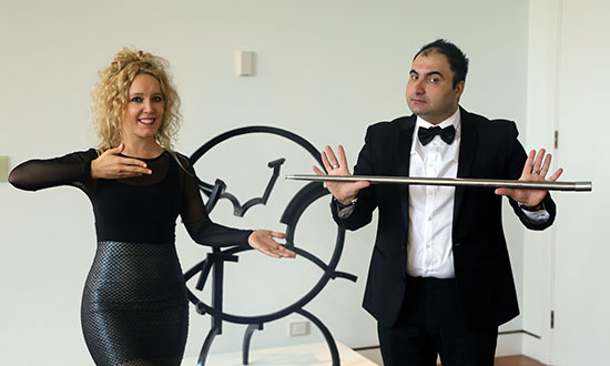 Magician Hamid Ariento and his assistant at Parliament House.