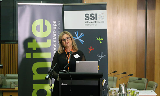 SSI CEO Violet Roumeliotis speaking about Ignite at Parliament House.