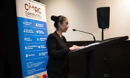 Melissa Monteiro, CEO, Community Migrant Resource Centre addresses the CALD Women's Sexual and Reproductive Health Forum.