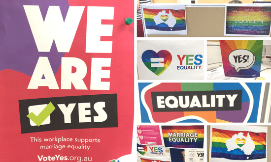 Marriage equality posters around SSI offices