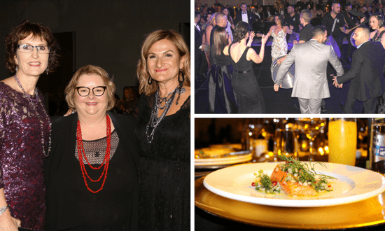 SSI Chair Elisabeth Shaw, Magda Szubanski, and SSI CEO Violet Roumeliotis at the SSI Mosaic Gala