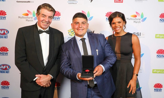 Bassam Maaliki, Youth Community Award Winner with The Hon. Ray Williams MP and Jada Mathyssen-Whyman goalkeeper for Western Sydney Wanderers.