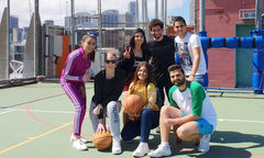 Young refugees from Syria meet new friends playing rooftop basketball