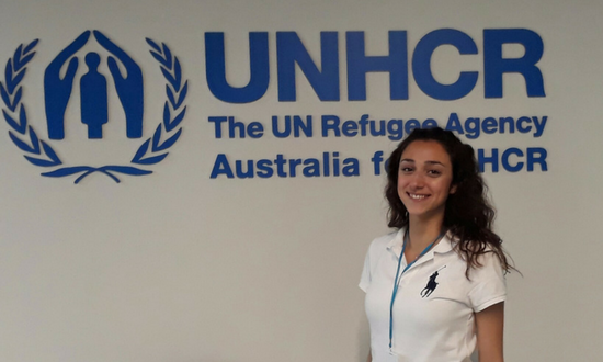 Graphic design teacher Talar Hagob has secured part-time employment with Australia for UNHCR.