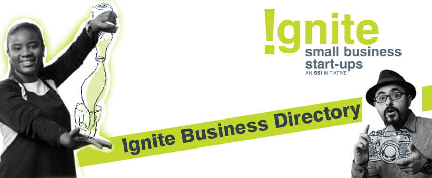 A logo linking to the Ignite Business Directory - image of man with a camera and woman from Aunt's Ginger Tonic