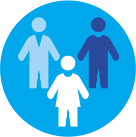Diversity and Inclusion Logo depicts humans from muti-cultural origins - blue, light blue and white figures on a blue circular background
